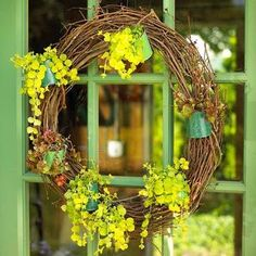 Woodland wreath: Has its own potted plants! More spring door ideas: http://www.midwestliving.com/homes/seasonal-decorating/spring/wreaths/