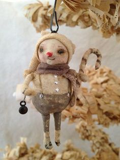Snowman Ornament~Spun Cotton by Arbutus Hunter