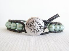 Light Green Leather Wrap Bracelet with antique silver button