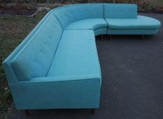 turquoise vintage sectional sofa