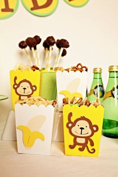 Monkeys and Bananas Birthday Party Package by Pinwheel Lane on etsy #Monkey #Banana banana birthday, monkeys, birthday parties, birthdays, bananas, party bags, parti bag, pinwheel, baby shower monkey