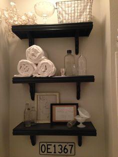 Bathroom shelf, open shelves, Ballard Design knockoff  |Pinned from PinTo for iPad|