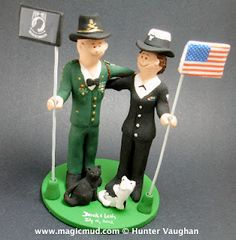 Military Wedding Cake Topper  Here is a real show of co-operation between different branches of the military... a beautiful bride who is enlisted in the Navy has been swept away by a groom in the Army!.... what a romantic show of strength :-)   $235 #army#navy#military#soldier#wedding #cake #toppers #custom #personalized #Groom #bride #anniversary #birthday#wedding_cake_toppers#cake_toppers#figurine#gift