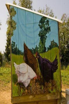 Chicken Coop with chicken mural