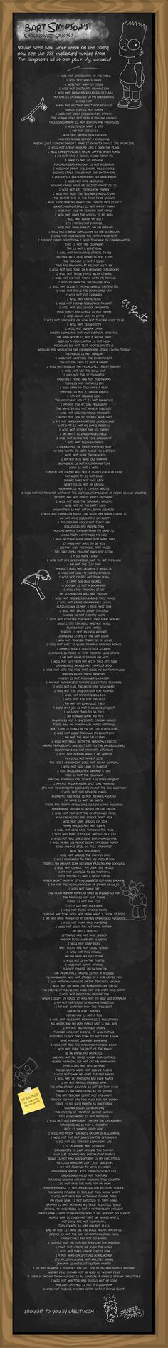 """Bart Simpson's Chalkboard Quotes. My favorites are """"Poking a dead raccoon is not research"""" and """"Making Milhouse cry is not a science project""""."""