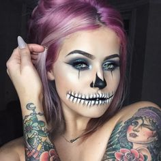 Someone mentioned Halloween makeup looks so I went home and did a Halloween makeup look. Sassy chola skull look, just done on top of today's makeup. When you gotta play, you gotta play! Can't wait for the spooky season.