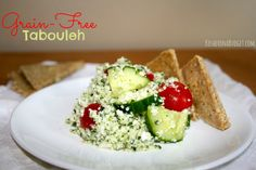 "Grain-Free Tabouleh, made with cauliflower instead of bulgar. I can't believe how much this tastes like ""regular"" tabouleh. So delicious and refreshing."