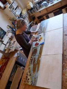 Studio Work by Alicia Tormey, via Flickr. Painting a triptych horizontally on a large work table