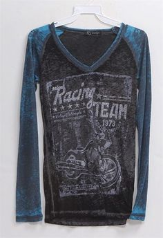 Soft charcoal gray burnout V-neck with teal long sleeves. Racing Team graphic design with silver stud & star embellishments.