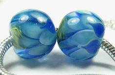 Blue petal bead pair  bhb bracelet beads by BuzzwordBeads on Etsy, £20.00