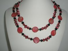 Red Mother of pearl double strand necklace with red by yasmi65, $32.00