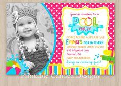 Girl Pool Party Birthday Invitation  DIY Custom by printablecandee, $10.00