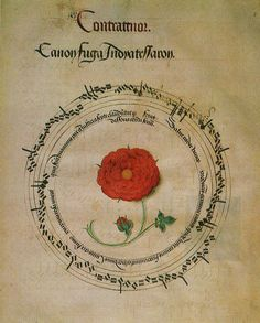 Canon in honour of Henry VIII, 1516, written around the Tudor Rose.