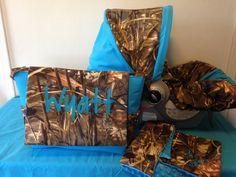 3 Piece Set MAX4 CAMO fabric  infant Car Seat Cover with Canopy/Visor and Diaper Bag  & Huggy Blanket with Free Monogram