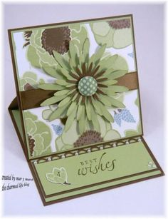 card easel, easel cards, flower card, color combos, easelcard, paper flowers, making cards, paper crafts, stampin up cards