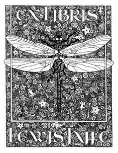 antiqu bookplat, dragon flies, ex libris, bookplate, bookplat estat, fli dragon, book plates, dragonfli bookplat, antiques