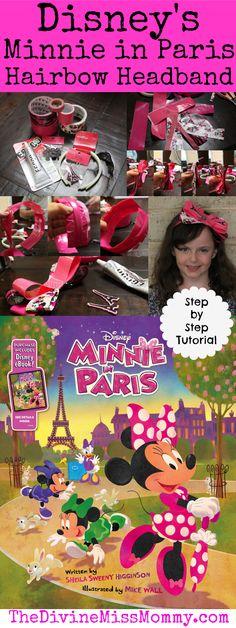 Minnie in Paris Hairbow Headband Tutorial #MinnieinParis #Disney #hairbow #craft #tutorial