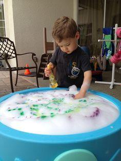 Rainbow bubbles and glow sticks