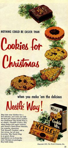 Nothing could be easier than cookies for Christmas. #vintage #food #cookies #Christmas #ad #1950s