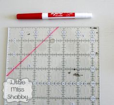 Little Miss Shabby shows how to use dry erase marker on any size ruler to make a custom-sized trimmer to trim any size HSTs before you open and press them -- makes perfectly trimmed HSTs.