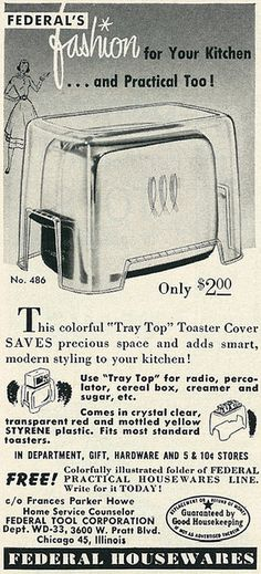 Federal Housewares toaster ad, 1953. #vintage #kitchen #appliances #toasters #1950s #ads