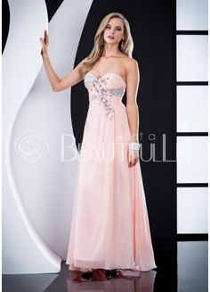 $166.49  Light Pink Sweetheart Natural Floor-length Chiffon Prom Dress With Beading And Rhinestones #pink #sweetheart #dress