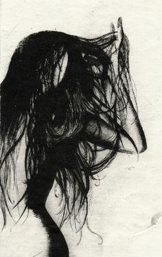 Girl Etching 5 Art Print