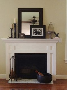simple   mantle decor - I guess I better get a fireplace first :0) I could steal Ron's