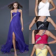 FULL LENGTH ONE-SHOULDER PETAL EVENING BRIDESMAID PROM PARTY DRESS GOWN $94.99