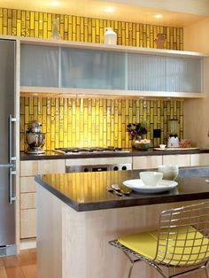 Golden mustard tile backsplash love!
