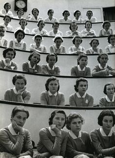 Student nurses in the amphitheater of Roosevelt Hospital, New York City, 1938, a photo by Alfred Eisenstaedt