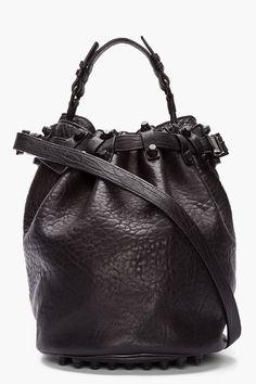 Alexander Wang Black Leather Matte Studded Diego Bucket Bag