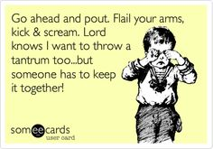 Go ahead and pout. Flail your arms, kick & scream. Lord knows I want to throw a tantrum too...but someone has to keep it together!