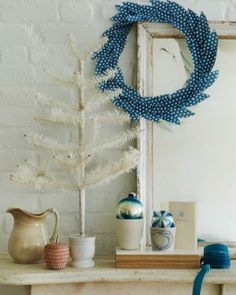 blue paper wreath
