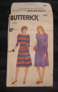 Butterick Misses Dress Sizes 8 10 12 Uncut Pattern 4732 vintage 1980's #Butterick #1980sdress