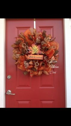"""Deco mesh fall wreath with maple leaf """"welcome"""" sign"""