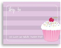 Swoozie's Stickers - Cupcake - Shipping Label