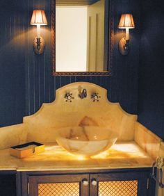 A gorgeous sink that almost glows with golden marble