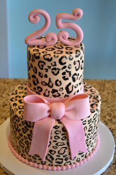 Probably to most awesomely adorable pink leopard print cake ever