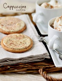 Insanely delicious Cappuccino #Cookies topped with White Chocolate #recipe at TidyMom.net