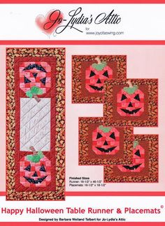 These happy jacks make the perfect placemats and runner to decorate for harvest holidays. Get the PDF download at www.craftsy.com patterns, tabl runner, barbara weiland, happi halloweenpdf, craftsi store, halloween tabl, pattern store, table runners, happy halloween