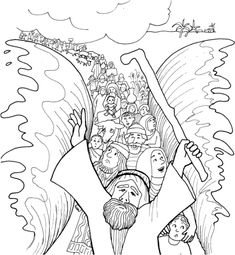 "Moses Parting the Red Sea Coloring Page  [""Israelites Cross The Sea On Dry Ground - Exodus 14:21-22""]"