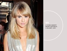 """@Byrdie Beauty - You can't go wrong when choosing fringe to accompany your one-length cut, says Lecompte. """"I like a side-swept bang because it evens out the bluntness of the length,"""" he says."""