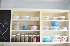 ball jars, mixing bowls, open shelves, kitchen shelves, kitchen items