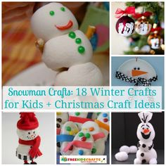 Your kids can build tons of snowmen with this collection of Snowman Crafts: 18 Winter Crafts for Kids + Christmas Craft Ideas. Forget using snow when your kids can use recycled crafts, paper crafts, edible crafts, and more! | AllFreeKidsCrafts.com