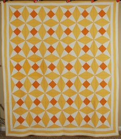 "AMAZING Vintage ""Diamond Star"" Antique Quilt ~Warm Yellow Sunset Colors!, eBay, french72"