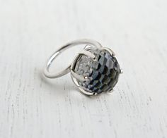 Vintage Crystal Ball Ring  Silver Tone Signed by MaejeanVINTAGE, $18.00