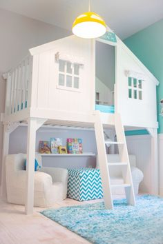 Turquoise blue and white kids room with loft bed house!