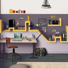 Fun bookshelf and cool colours