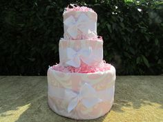 Baby Pink Damask Diaper Cake  Medium  Ship Ready by CaringCakes, $52.00
